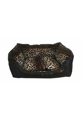 Leos Deri Orta Irk Köpek Yatağı Leopar Desenli No:2 65 X 50 X 30 Cm