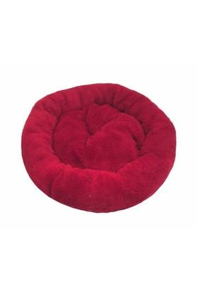 Leos Kedi Ve Köpekler İçin Yuvarlak Minder Yatak Kırmızı 52 X 14 Cm