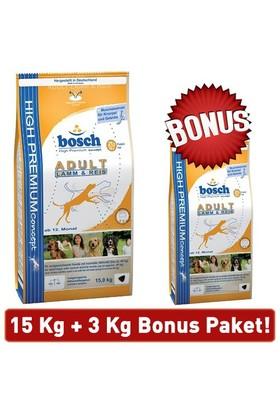 Bosch Kuzulu Ve Pirinçli Yetişkin Kuru Köpek Maması 15 Kg + 3 Kg