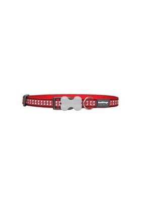Reddingo Fosforlu Kemik Desenli Kırmızı Köpek Boyun Tasması 15 Mm