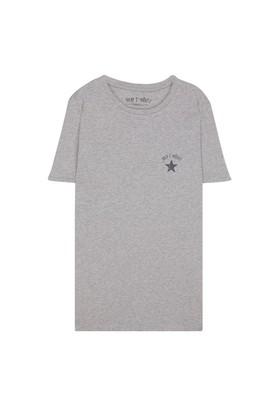 My T-Shirt Bisiklet Yaka Yıldızlı Basic T-Shirt