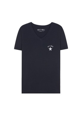 My T-Shirt V Yaka Yıldızlı Basic T-Shirt