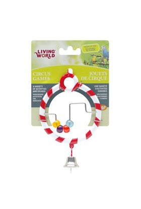 Living World Kuş Oyuncağı Zilli Boncuklı Halka - Kırmızı