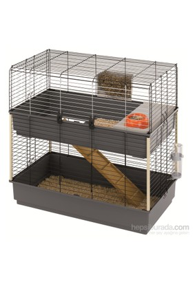 Ferplast Rabbit 100 Çiftli Katlı Tavşan Kafesi Siyah