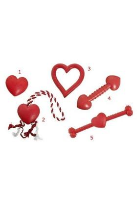 Karlie İpli Kalp Köpek Oyuncağı Kırmızı/Beyaz 8Cm K46938