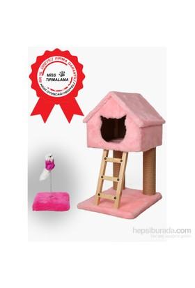Miss Dublex Tırmalama Ve Oyun Standı Pembe+ Yaylı Kedi Oyuncağı Hediye!
