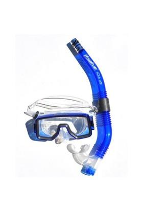 Unidive Silikon Maske/Şnorkel Set combo-3 Mavi