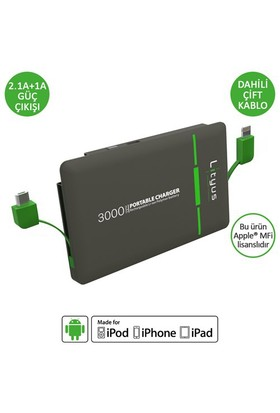 Lityus 3000 mAh (Dahili iPhone ve Micro USB) Taşınabilir Şarj Cihazı - AKLPB3M0313D