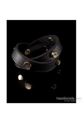 Bıggbıjoux Hathor Taşlı Deri Bileklik-Siyah Renkli
