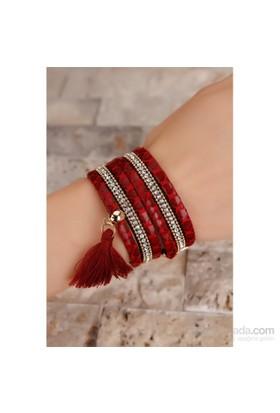 Morvizyon Kırmızı Leopar Desenli Kristal Taş Püsküllü Bayan Bileklik Modeli