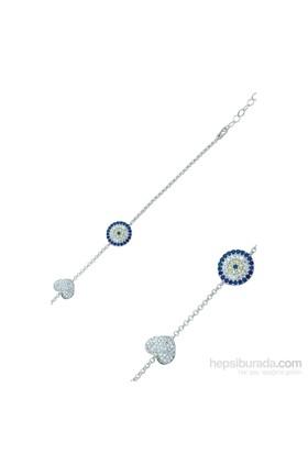 Olivin Accesories Gümüş Nazarlı Kalp Bileklik 431852