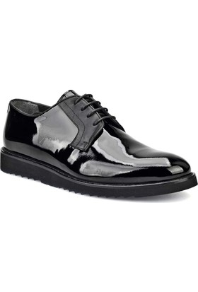 Cabani Bağcıklı Günlük Erkek Ayakkabı Siyah Rugan Deri