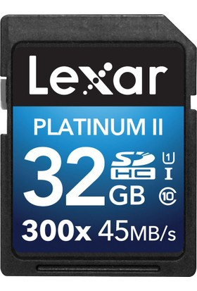 Lexar 32GB 300X Premium II SDHC Hafıza Kartı Class10 U1 45MB/sn (LSD32GBBEU300)
