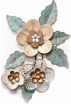 Esmerhome Lazer Kesim Metal Dekoratif Tablo Çiçek Temalı