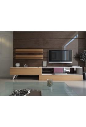 Givayo Lina TV ünitesi 210cm 2 Raf hediyeli Beyaz-Teak