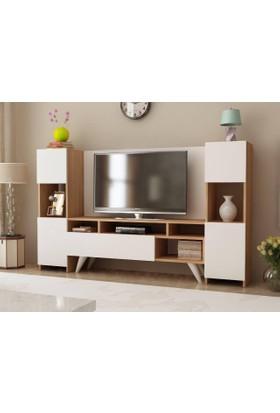 Givayo Onr92 Tv Ünitesi 180cm Teak-Beyaz