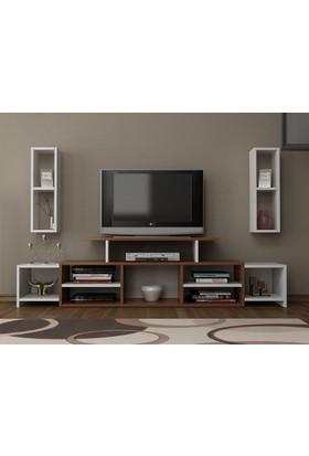Givayo Alonso Tv Ünitesi 180 cm Raf hediyeli Ceviz Beyaz