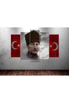 Caddeko Ata228 Atatürk İstiklal Marşı Gençliğe Hitabe Gri Kırmızı Kanvas Tablo - 70 x 100 cm