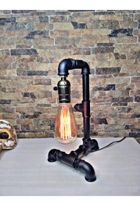 Marca4you Industrial Pipe Rustik Metal Masa Lambası