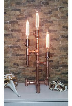 Marca4you Industrial Bakır Pipe Edison Masa Lambası