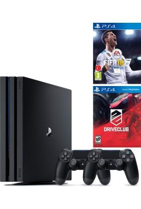 Sony Ps4 Pro 1Tb Oyun Konsolu + 2. Ps4 Kol + Fifa 18 + Driveclub