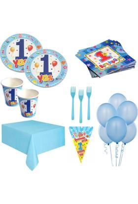 Roll Up Party Var 1 Yaş Erkek Doğum Günü Seti 20 Kişilik