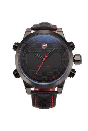 Shark Sh203 Siyah Kırmızı Led Işıklı Erkek Kol Saati