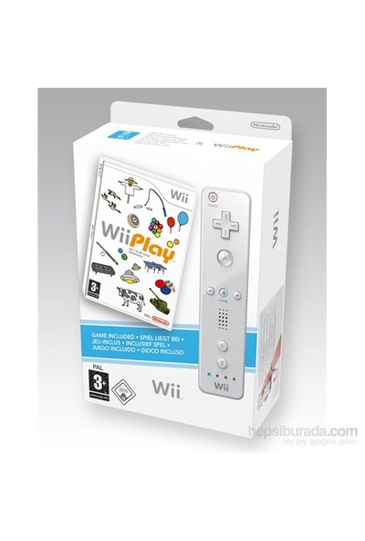 Nintendo Wii Play Remote + Oyun Beyaz