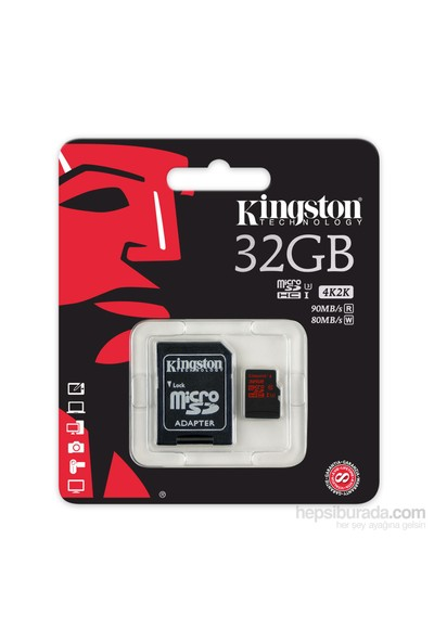 Kingston 32GB MicroSDHC UHS-I U3 Hafıza Kartı (90-80MB/sn) SDCA3/32GB