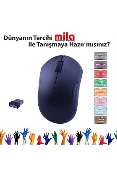Classone Mila Kablosuz Siyah Mouse (ML352)