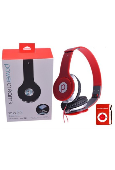 Powerway DRN-X08 4GB Mp3 Çalar + Powerdreams Kulaküstü Kulaklık - Kırmızı
