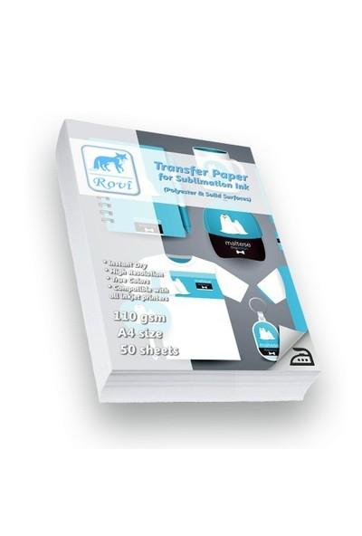 Rovi Polyester Kumaş/Sert Yüzeyler İçin Transfer Kağıdı - 50Yp - A4