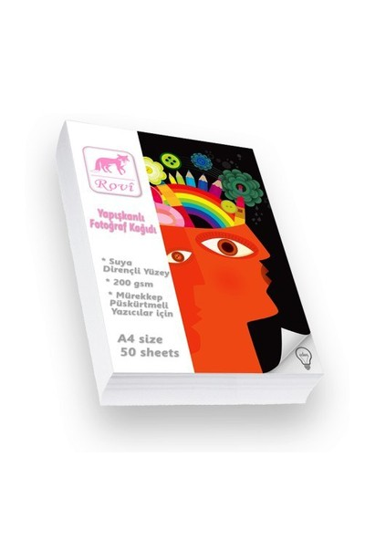Rovi Fine-Art Yapışkanlı Fotoğraf Kağıdı - 200Gsm - 50Yp - A4