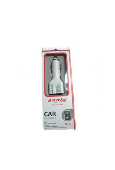 Sonia CarPlug Beyaz iPad, iPod,Galaxy Tab Dual Usb Araç Şarj Cihazı ve Kablo 50602