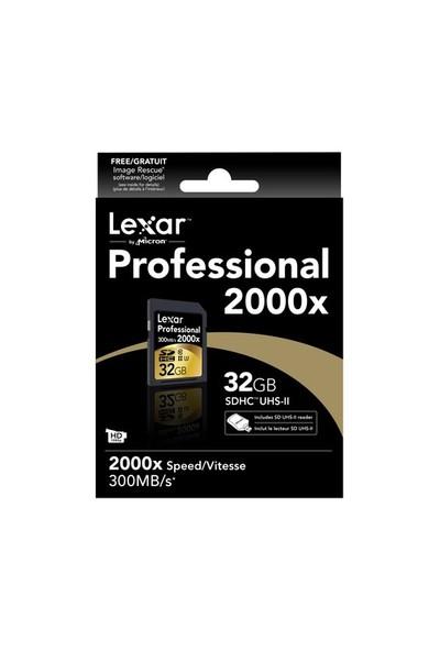 Lexar 32GB 2000x Professional SDHC Hafıza Kartı + USB Kart Okuyucu UII 300MB/sn (LSD32GCRBEU2000R)