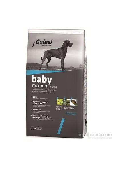 Golosi Dog Baby Medıum Tavuk Etli Ve Pirinçli Orta Irk Yavru Köpek Maması 12 Kg