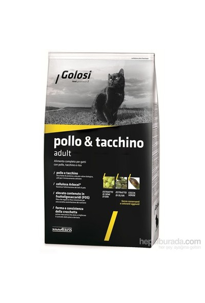 Golosi Cat Pollo & Tacchino Tavuklu, Hindili Ve Pirinçli Yetişkin Kedi Maması 20 Kg