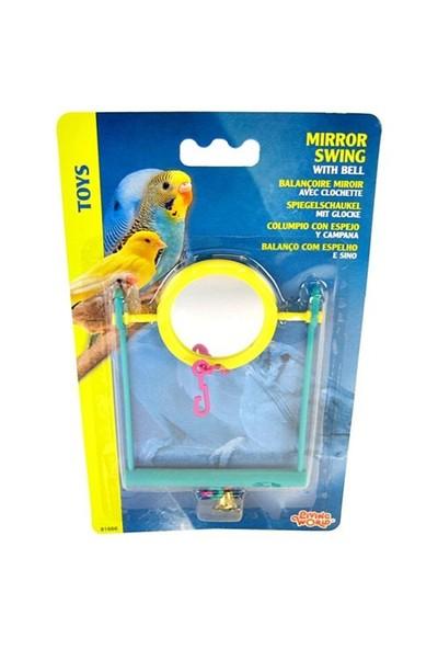 Plastik Aynalı Yemlikli Kuş Oyuncağı