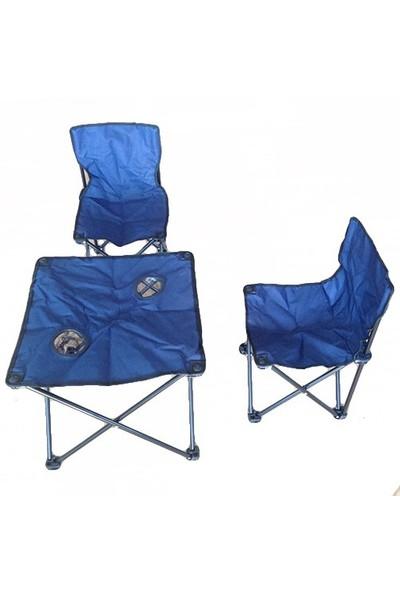 Andoutdoor 2 Sandalye 1 Masa Çantalı Set Lacivert AND200