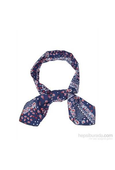 Cool Tie - Desenli Şal Lacivert Kırmızı Beyaz