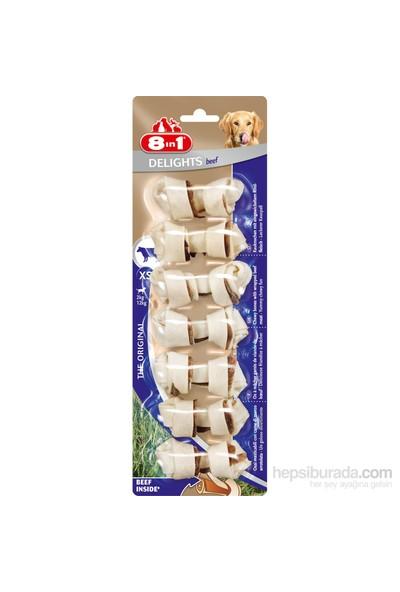 8 IN 1 Delights Bones Köpekler İçin Biftekli Ağız Bakım Kemiği XS 7'li