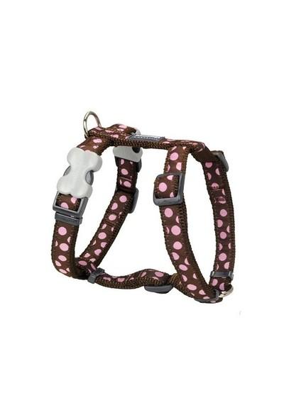 Reddingo Kahverengi Üzeri Pembe Benekli Köpek Göğüs Tasması 20 Mm