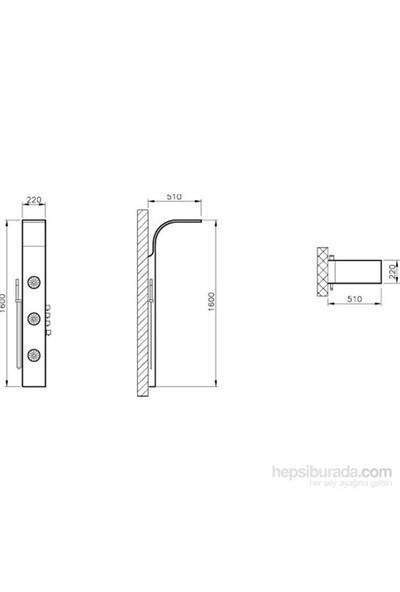 VitrA Masajlı Duş Sistemi, Parlak Metal 06 (160X22 Cm)