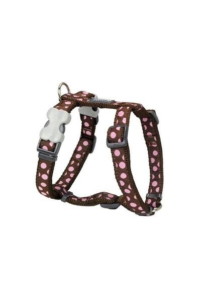 Reddingo Kahvere Üzeri Pembe Benekli Köpek Göğüs Tasması 12 Mm