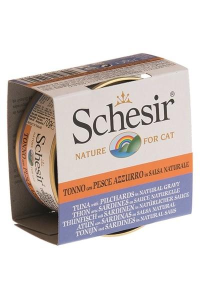 Schesir Cat Broth Naturel Sauce 70Gr - Ton Balıklı Ve Sardalyalı Kedi Konservesi