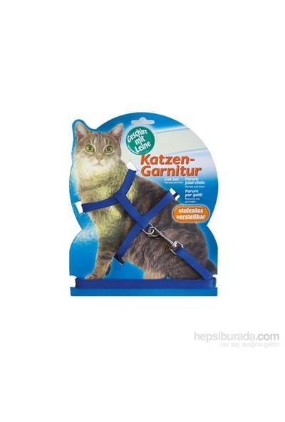 Katzen Kedi Tasması Düz Mavi