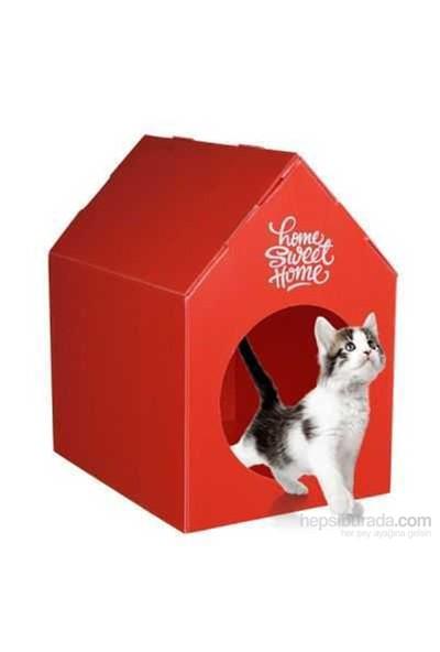 Ranna Home Sweet Home Su Geçirmez Kedi Evi - Kırmızı