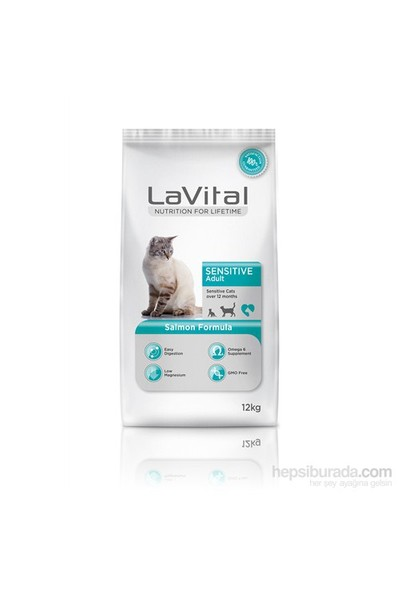 La Vital Cat Adult Sensitive Salmon Somonlu Yetişkin Kedi Maması 12 Kg