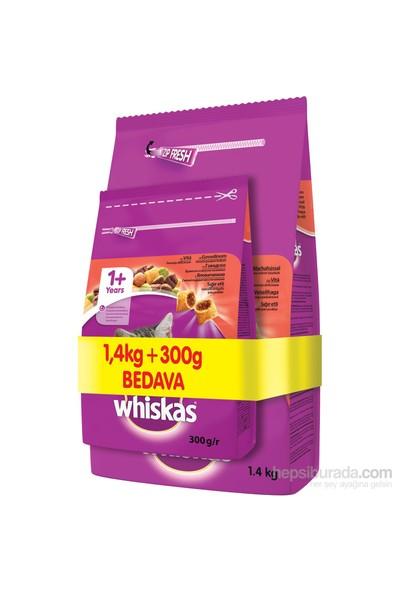 Whiskas Kuru Kedi Maması 1,4Kg + 300G Bedava