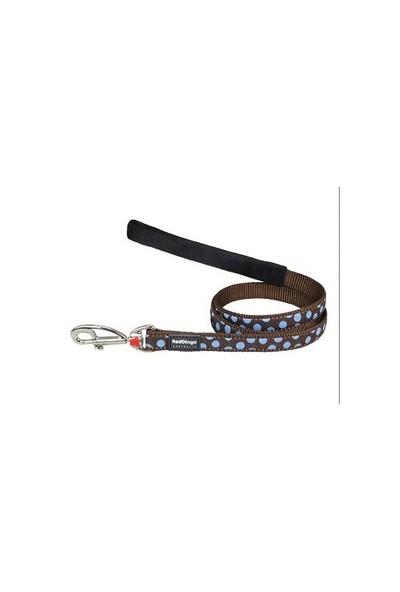 Reddingo Kahverengi Üzerine Mavi Benekli Uzatma Köpek Tasması 15 Mm